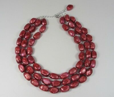 Chunky fuchsia red ruby statement necklace,multi strand statement ruby necklace,