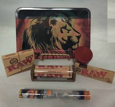 Lion Mini Rolling Tray Bundle: Raw Roller Papers Tips 2 & Twisted Wrap Doob Tube