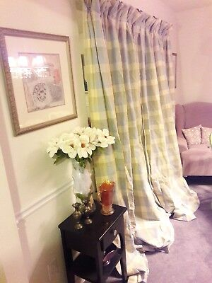 """Pair of Custom French Country Shabby Chic Gingham Lined Drapery Panels 50""""x 96"""""""