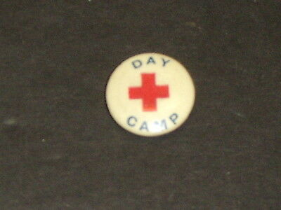 Red Cross Day Camp Vintage Pin Pinback Button EX