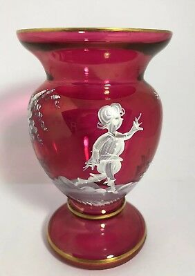 "Vintage Mary Gregory Cranberry Vase Girl With Dragon Fly 5 1/2"" Tall 11GG"