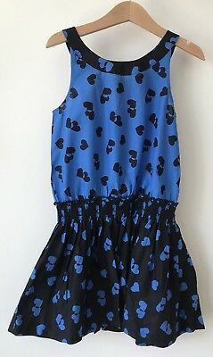 Marks And Spencers Girls Dress Age 6-7 Blue And Black M&S
