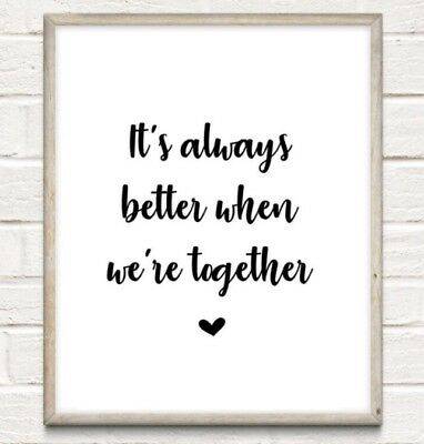 Better Together Family Typography Print Poster Love Unframed Home Quote Gift