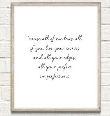 All Of Me Lyrics Typography Print Poster Couple Love Unframed John Legend Quote