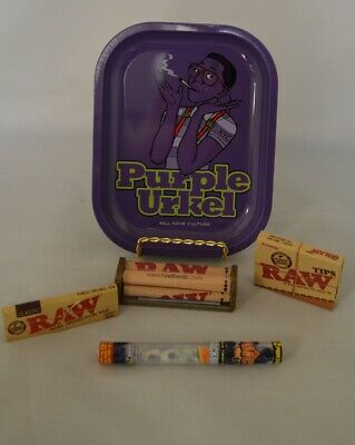 NEW Rolling Tray Bundle Pablo Raw Roller Papers Tips & 2 Twisted Wrap Doob Tube