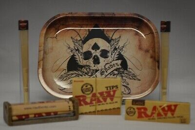 NEW Rolling Tray Bundle Kit *Raw Roller *Paper *Tips & 2 Twisted Wrap Doob Tubes