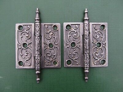 """One Pair of Original Antique Cast Iron Fancy Victorian Steeple Hinges 3 1/2""""  A"""