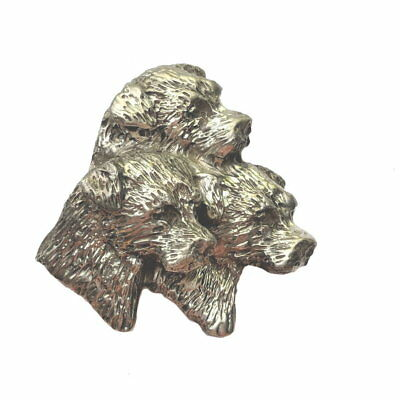Border Terrier Trio Brooch Pin Handcrafted Sterling Silver Dog Jewelry