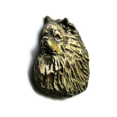 Handcrafted Keeshond Head Bronze Pendant Dog Jewelry Gift by Elizabeth Trail