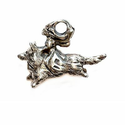 Cardigan Welsh Corgi Fairy Pendant, Sterling Corgi jewelry gifts Elizabeth Trail