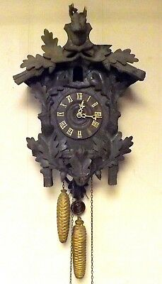 Large German Antique Black Forest Cuckoo Clock For Parts or Repair ~Estate Find~