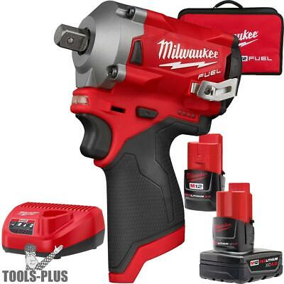 "Milwaukee 2555P-22 M12 FUEL Stubby 1/2"" Pin Detent Impact Wrench Kit New"
