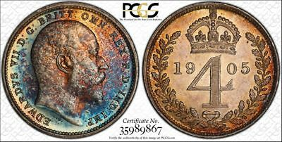 1905 Great Britain 4 Pence PCGS PL63 - Colorful Rainbow Toning
