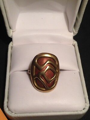 Handmade Copper Bronze Brass Vintage Estate open work design Ring artisan size 5