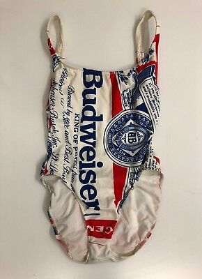 RARE Vintage Budweiser 80's one piece bathing suit swim suit high cut womens