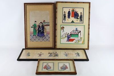 Lot Of Old Framed Chinese Pith Paper Paintings
