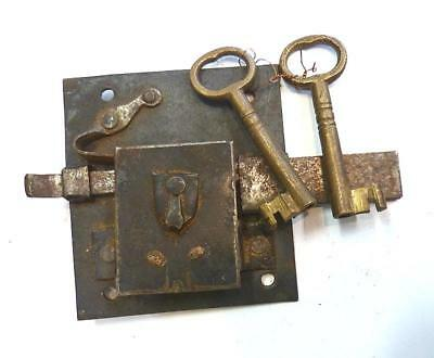 Antique Working  Continental Dead Bolt Door Lock With  Key - 17Th Or 18Th Cent.