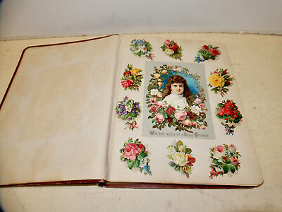 Antique Victorian Scrapbook  With Trade Cards Colorful Greetings Litho's