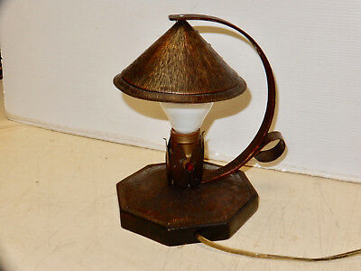 Antique Original Arts And Crafts Hammered Copper And Riveted Table Lamp