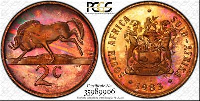 1983 South Africa 2 Cent 1C PCGS PR67RB - Colorful Rainbow Toning