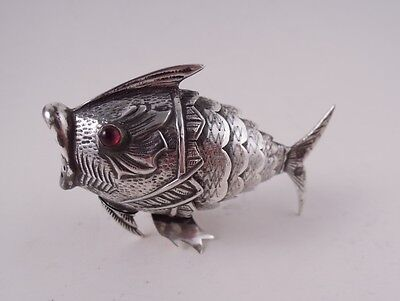 Antique Spanish Silver Articulated Fish Red Glass Eyes Not Sterling Spice Shaker