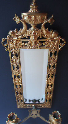 Vtg Antique Gilt Dolphins Figure Candlestick Wall Bevel Mirror Hollywood Regency