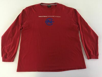Nautica Competition Crewneck Long Sleeve T Shirt L Red Spellout Logo Mens 4573