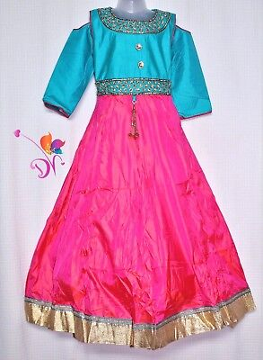 Bollywood Partywear Fancy Kid Long Gown Anarkali Uppada silk Frock age 3 and up