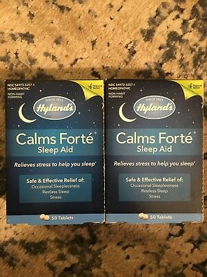 2 - 50 Count Packages Of Hyland's Calms Forte Sleep Aid Tablets 100 Total