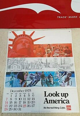 """Vintage Coca-Cola 1975/1976 Calendar - """"Look up America"""" - It's the real thing."""