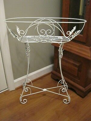 Vtg Estate Garden Plant Stand White Iron Chippy Victorian Cottage Chic Icanthus