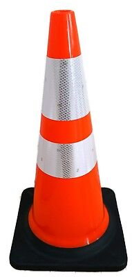 """6 Pack 28"""" Orange Road Safety Cones 3M Reflective Collar Traffic cone Parking"""