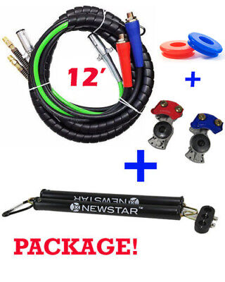 3 in One Wrap Set 7 Way Tractor Trailer Electric Cord Cable ABS & Air Line 12'