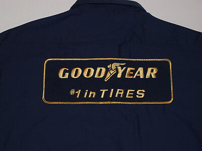 1990s GOODYEAR MECHANIC WORK SHIRT WITH PATCHES! #1 IN TIRES! LONG SLEEVE! USA L