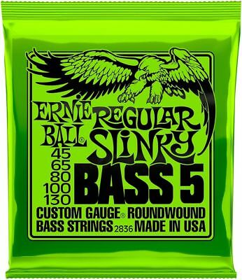 **Ernie Ball 5-String Bass 45-130 Electric Regular Slinky Strings 2836**