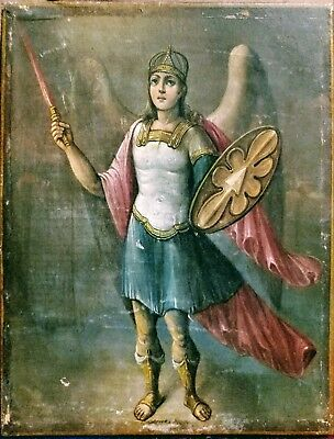 Antique Rare Hand Painted Russian Icon Of St.mihail (St.michael)