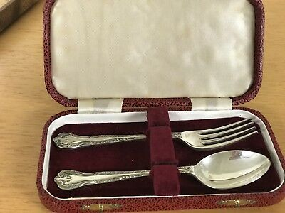 Traditional Vintage Silver Plated Childs Spoon & Fork in  Very Attractive Boxed