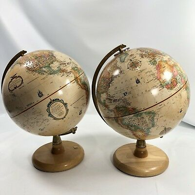 Lot of 2 Replogle 9 Inch Globe Blond Wood Base World Classic Series made in USA