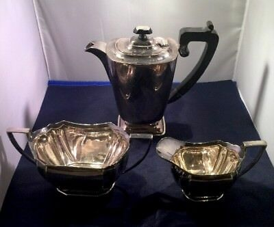 Vintage Art Deco English 3 Piece Silver Plated Coffee Set 06
