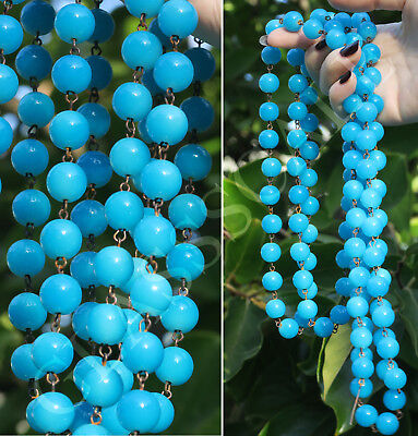 "12"" glass Turquoise bead prism strand part Opaque Opaline brass lamp chandelier"