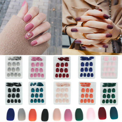 24Pcs/Set Artificial Matte Short Fake Full Nail Tips Nail Art Accessories UV Gel