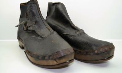 Victorian lady / child leather clogs shoes wood soles & irons museum display ?