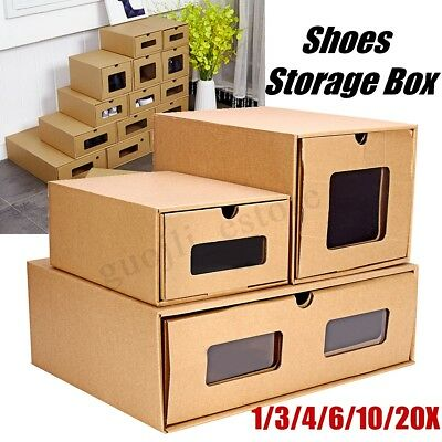 1-20Pcs Shoe Storage Paper Boxes Organisers Drawer Stackable Foldable Cardboard