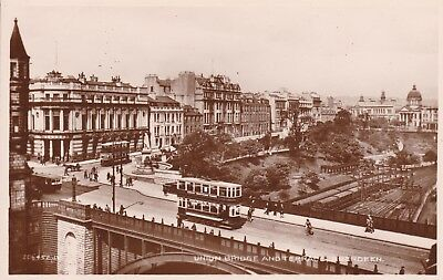 Aberdeen - Tram On Union Bridge And Terrace - Real Photo By Valentine's