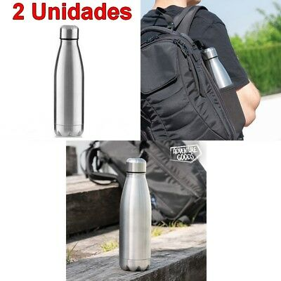 2 x Botella termica 500 ml acero inoxidable,tapon enroscable,caliente 12 horas