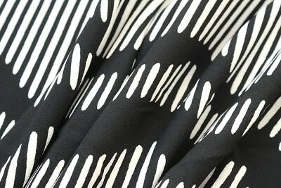 Wavy Slatted Lines Print Crepe Scuba Jersey Dress Fabric Material (Black/Cream)
