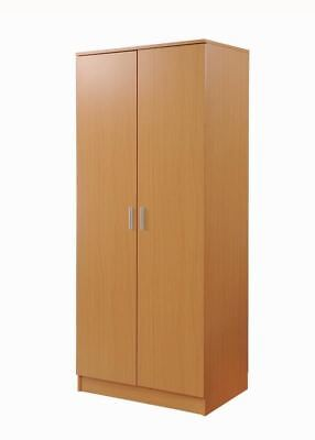 2 Door Double Wardrobe In Beech - Bedroom Furniture Storage Cupboard