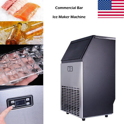 Silver Commercial Restaurant Bar 100Lbs Stainless Steel Ice Cube Maker Machine