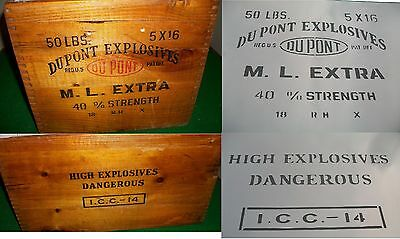2 side A3 A4 Old Vintage Dupont Explosives Crate Dangerous Airbrush Stencil Army