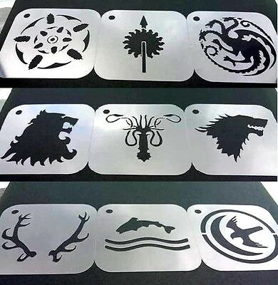 Set of 9pcs Game of Thrones Baratheon Martell Targaryen Lannister Greyjoy Stark
